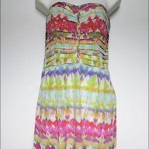 Charlie Jade Silk Strapless Short Dress Printed M